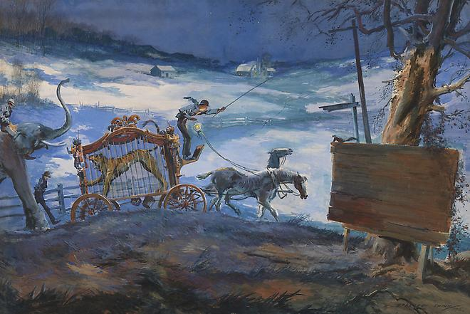 Everett Shinn (1876-1953) Winter Circus Caravan, 1916 Watercolor on paper 25 1/2 x 38 1/8 inches Image