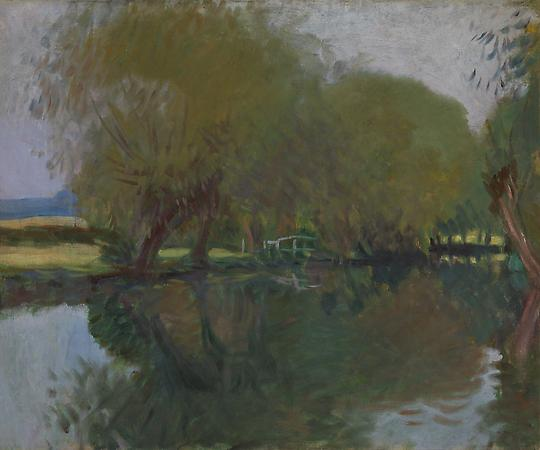 John Singer Sargent (1856-1925) A Backwater at Calcot Near Reading, 1888 Oil on canvas 25 x 29 3/4 inches Private collection Image