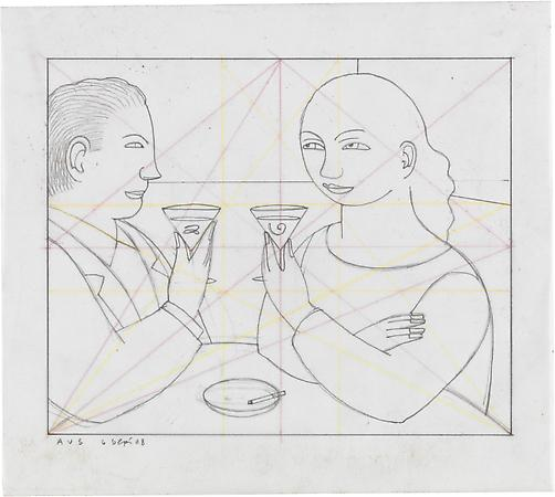Drawing #1 for Toast, 2008 Pencil on paper with crayon ration lines on reverse 7 x 8 3/8 inches Signed and dated at lower left: AVS 6 Sept 08 SOLD Image