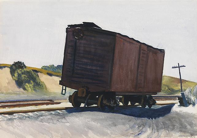 Edward Hopper (1882-1967) Freight Car at Truro, 1931 Watercolor on paper 13 1/2 x 19 1/2 inches Image