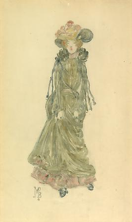 Maurice Prendergast (1858-1924) Red-Haired Lady with Hat, c. 1891-94 Color monotype, on thin cream paper 14 x 8 1/4 inches Image