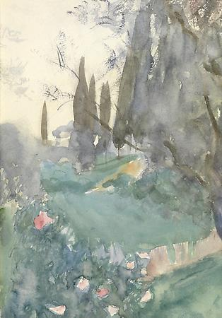 John Singer Sargent (1856-1925) Landscape with Cypresses (Near Nice, an Early Sketch), c. 1883 Watercolor on paper 13 1/2 x 9 1/2 inches Private collection Image