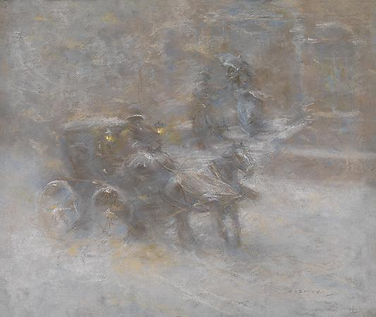 Everett Shinn (1876-1953) Snow Storm, c. 1910 Pastel on paper 16 1/8 x 19 1/4 inches Image