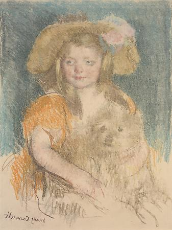 Mary Cassatt (1844-1926) Smiling Sara in a Big Hat Holding Her Dog (No.2), c.1901 Pastel counterproof on Japan paper mounted on board 26 1/2 x 20 7/8 inches Image