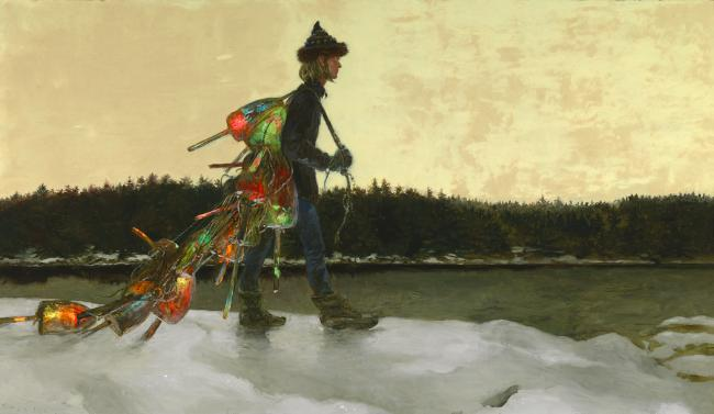 Jamie Wyeth (b. 1946) The Mainland, 1992 Oil and day-glo enamel on panel 28 x 48 inches Image