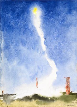 Apollo XI - To the Moon, July 16, 1969, 1969 - 2009 Watercolor on paper 27 1/2 x 20 inches © Jamie Wyeth Image