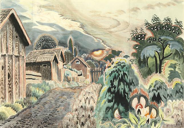 Charles Burchfield (1893-1967) Sweet Pea Mood, 1917 Watercolor and crayon on paper 23 1/4 x 33 1/8 inches SOLD Image