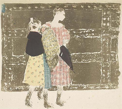 Edouard Vuillard Sur le Pont de l'Europe, c. 1899 Lithograph printed in colors Image: approx. 12 x 13 3/4 inches, (30.7 x 35 cm) Sheet: 13 1/8 x 15 1/2 inches, (33.4 x 39.5 cm) Signed in pencil From the edition of 100 Roger-Marx 40 Image