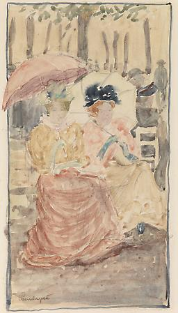 Maurice Prendergast (1858-1924) Two Women with Parasols Seated in the Park, c. 1893-94 Watercolor on paper 11 1/2 x 6 1/2 inches Image