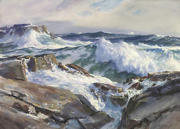 John Whorf (1903-1959) Rolling from the East, Maine Coast, c. 1950 Watercolor on paper 21 1/8 x 29 3/8 inches Image
