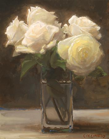 Jacob Collins (b. 1964) White Roses II, 2010 Oil on canvas panel 14 x 11 inches Image