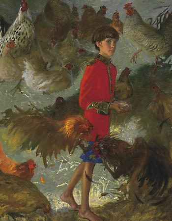 Emperor of Chickens, 2002 Oil on canvas 46 x 36 inches © Jamie Wyeth Image