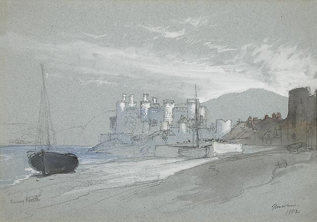 Conway Castle, 1882 Pencil, watercolor and white heightening on light blue paper 10 7/8 x 15 1/4 inches Image