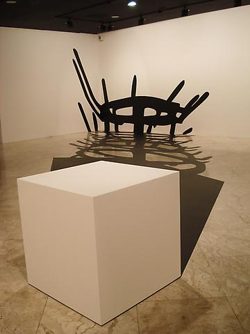 In Absentia: Masterpieces MD (1983) Industrial paint and wood 393.7h x 787.4w in (1000h x 2000w cm)