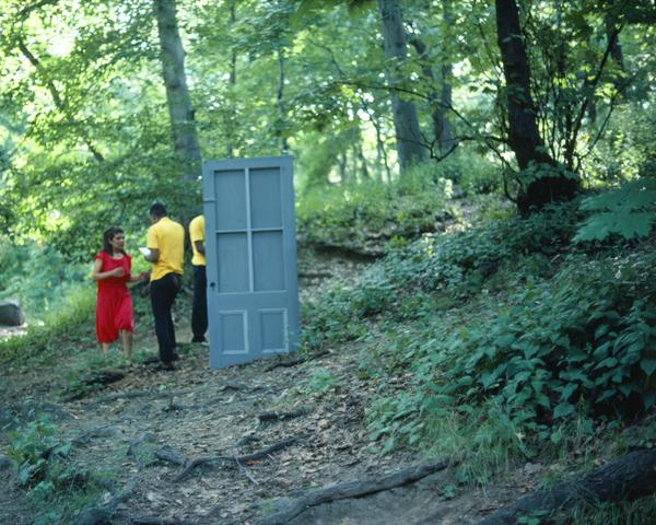 Rivers, First Draft: The Woman in Red tries to join the Black Male Artists but is ejected by them (1982/2015) Digital C-print from Kodachrome 35mm slides in 48 parts, 16h x 20w in (40.6h x 50.8w cm) Edition of 8 with 2 AP
