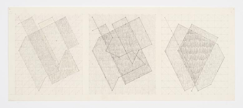 Untitled (Three Studies for the Knight Series) (c. 1975) Graphite on paper 7h x 17w in (17.8h x 43.2w cm)