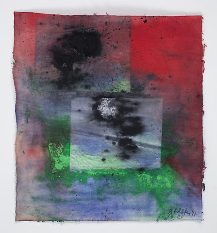 Saturation #21 (2011) Acrylic, collage, dry pigment on rice paper 8.5h x 7.75w in (21.59h x 19.68w cm)
