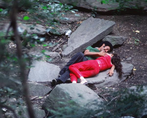 Rivers, First Draft: The Young Man in Green makes love to the Teenager in Magenta (1982/2015) Digital C-print from Kodachrome 35mm slides in 48 parts, 16h x 20w in (40.6h x 50.8w cm) Edition of 8 with 2 AP