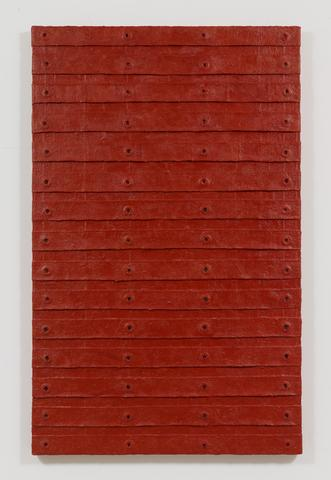 Red Stack (2015) Oil and mixed media on canvas 80.25h x 50.5w x 2.5d in (203.8h x 128.3w x 6.4d cm)