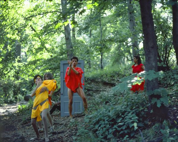 Rivers, First Draft: The Debauchees dance down the hill, the Woman in Red falls further behind (1982/2015) Digital C-print from Kodachrome 35mm slides in 48 parts, 16h x 20w in (40.6h x 50.8w cm) Edition of 8 with 2 AP