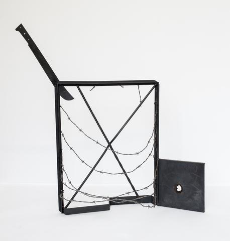 Ventana a Isla Negra (1973) Welded steel and barbed wire 44.4h x 48w x 20d in (112.8h x 121.9w x 50.8d cm)