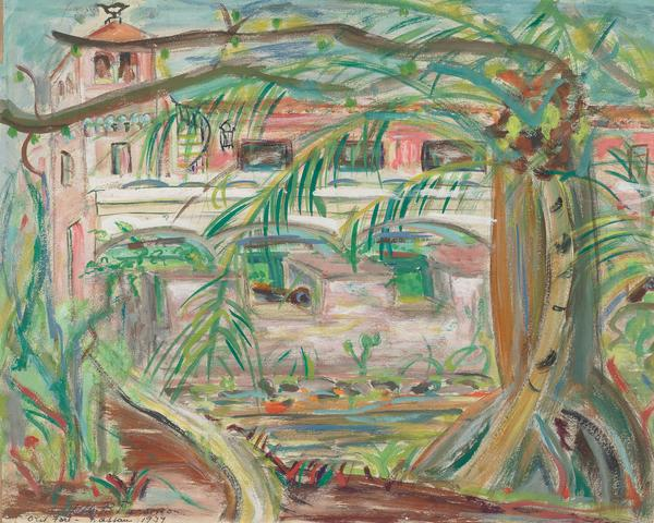 Old Fort – Nassau (1939) Graphite and gouache on paper 15.75h x 19.75w in (40h x 50.2w cm)