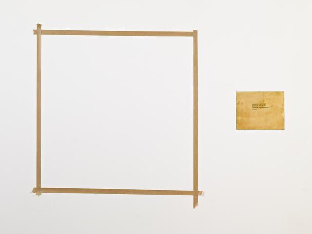 """Presented with this evidence, prove or disprove the existence of god. From the series """"The Assignment Books"""" (2011) Brass plaque with mixed media, dimensions variable"""