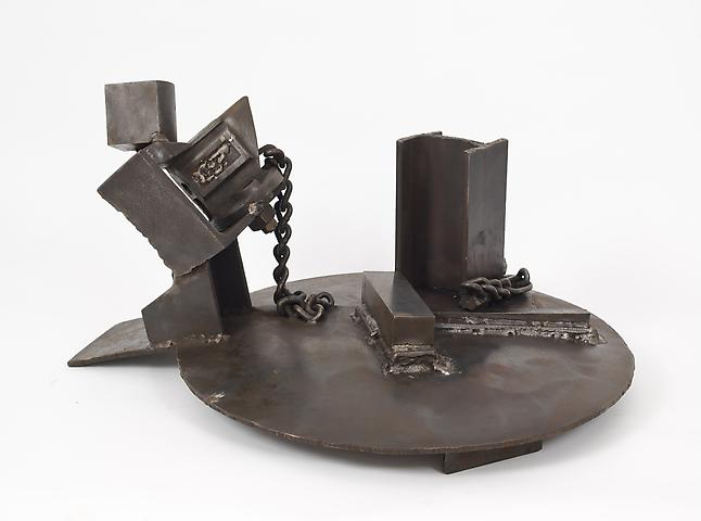 Waiting for Yesterday (1990-1993) Welded steel 12.75h x 24.5w x 22d in (32.39h x 62.23w x 55.88d cm)