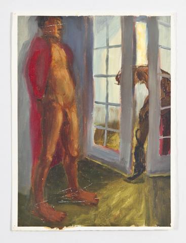French Doors (1988) Oil on gessoed paper 15.2h x 11.1w in (38.6h x 28.2w cm)