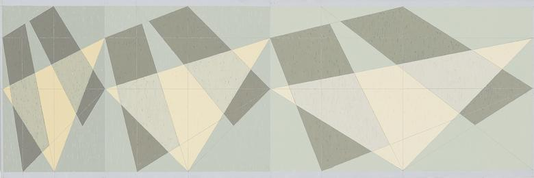 Compression and Expansion of the Square (Q3-82 #2) (1982) Oil on canvas  36h x 108w in (91.4h x 274.3w cm)