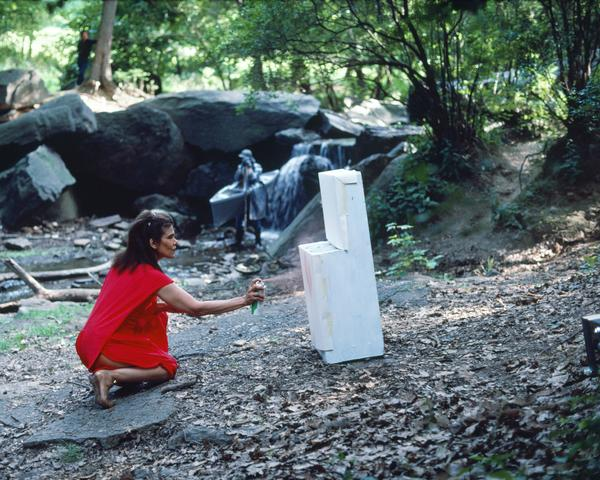 Rivers, First Draft: The Woman in Red starts painting the stove her own color (1982/2015) Digital C-print from Kodachrome 35mm slides in 48 parts, 16h x 20w in (40.6h x 50.8w cm) Edition of 8 with 2 AP
