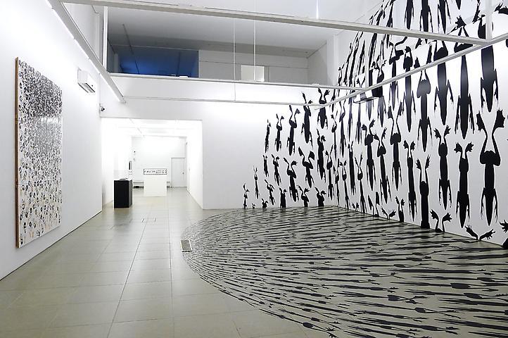 Regina Silveira: Amphibia Left: Corruptio (2008); Right: Amphibia (2013) Installation view; Bolsa de Arte de Porto Alegre, Brazil, 2013