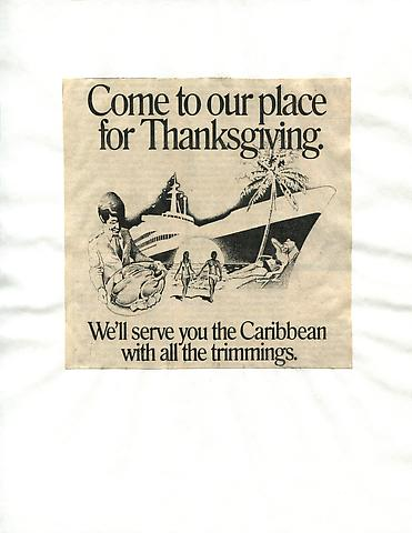 Cutting Out The New York Times, Come to Our Place for Thanksgiving (1977) Part 7 of 9, Toner ink on adhesive paper 11.02h x 7.87w in (27.99h x 19.99w cm)