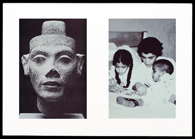 Miscegenated Family Album (Motherhood),  L: Nefertiti; R: Devonia reading to Candace and Edward, Jr. (1980/1994) Cibachrome prints; Edition of 8 with 1 AP 26h x 37w in (66.04h x 93.98w cm)