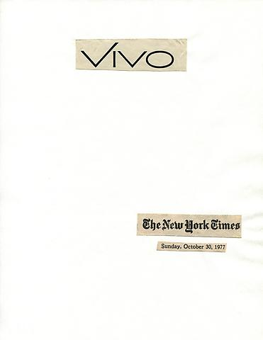 Cutting Out The New York Times, Vivo (1977) Part 1 of 3, Toner ink on adhesive paper 11.02h x 7.87w in (27.99h x 19.99w cm)