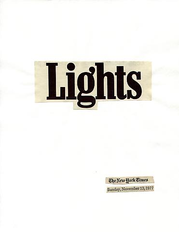Cutting Out the New York Times, Lights (1977) Part 1 of 12, Toner ink on adhesive label paper 11.02h x 94.49w in (27.99h x 240w cm)