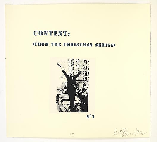 Content (from the Christmas Series) in 8 parts (1971) Silkscreen on paper; 25.25h x 27.75w in (64.14h x 70.49w cm) Edition of 5 with 1 AP