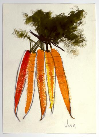 "Untitled, from the ""Vegetables"" series (n.d.) Watercolor and graphite on paper  14h x 10w in (35.6h x 25.4w cm)"
