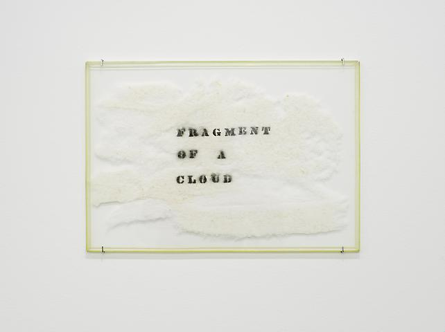 Fragment of a Cloud (1967) Black spray paint on cotton wool and acrylic glass 13.78h x 19.8w x 0.39d in (35h x 50.29w x 0.99d cm)