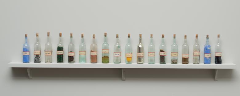 Luis Camnitzer, Tratado sobre el paisaje (1996) Glass 12.75h x 3w x 3d in (32.4h x 7.6w x 7.6d cm)