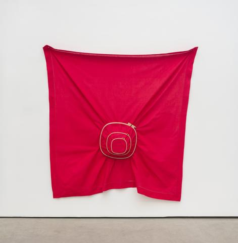 Untitled (2016) Linen and wooden embroidery hoops 72h x 72w in (187h x 187w cm)