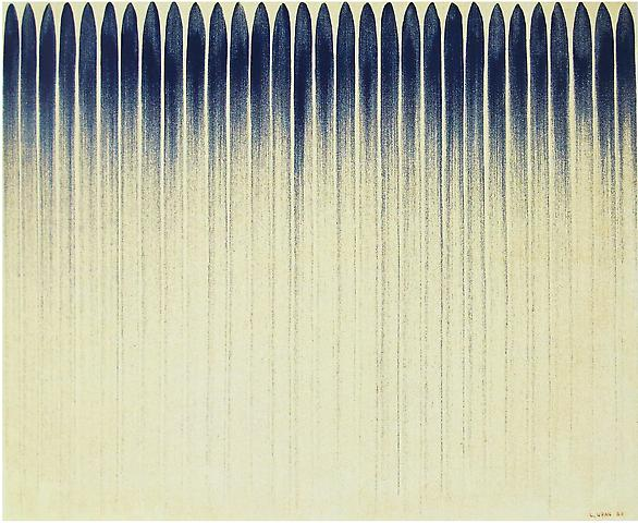 Lee Ufan  From Line No. 12-12 (1982) Oil and mineral pigment on canvas; 31.5h x 39.4w in (80h x 100.1w cm)