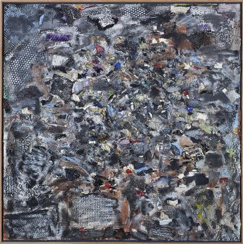 Spiral: A Dedication To R. Bearden (1988) Acrylic collage on canvas 67.3h x 67.3w x 2d in (170.9h x 170.9w x 5.1d cm)
