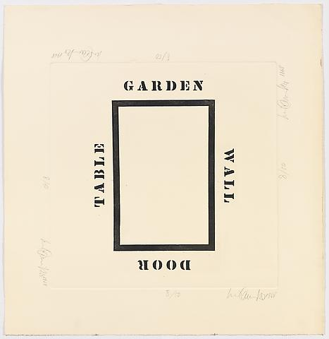 Luis Camnitzer; Garden Wall Door Table (1968) Etching on paper; 25h x 24w in (63.5h x 60.96w cm) Intended edition of 50, Executed edition of 10 with 1 AP