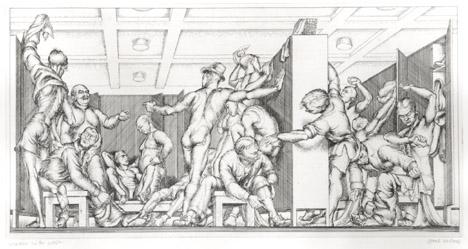 Paul Cadmus, Y.M.C.A. Locker Room (1934) Etching; 6.63h x 12.75w in (16.84h x 32.39w cm)