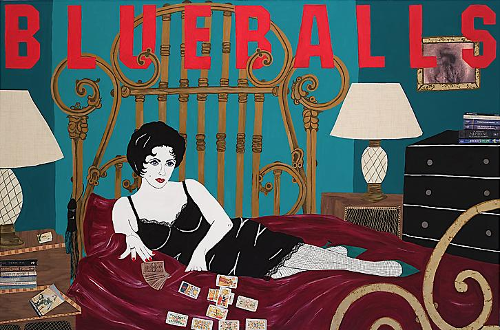Blueballs: from the Liz Taylor Series (Cat on a Hot Tin Roof)  (2007) Acrylic and mixed media on canvas  72h x 108w in (182.88h x 274.32w cm)