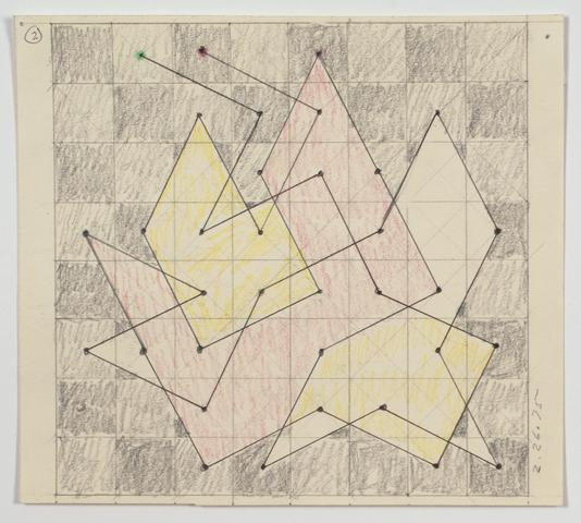 "Study for ""Knight Series"" (1975) Graphite and colored pencil on paper 6.25h x 7w in (15.9h x 17.8w cm)"