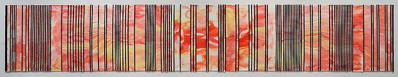 Bar Code IV (Lotto: A Gift for Robert Rauschenberg) (2008) Acrylic on canvas 24h x 143w in (60.96h x 363.22w cm)