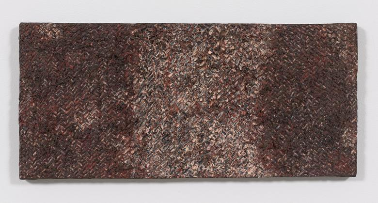 Tenchinage (1975) Oil and Dorland's wax on canvas 11h x 24w in (27.9h x 61w cm)