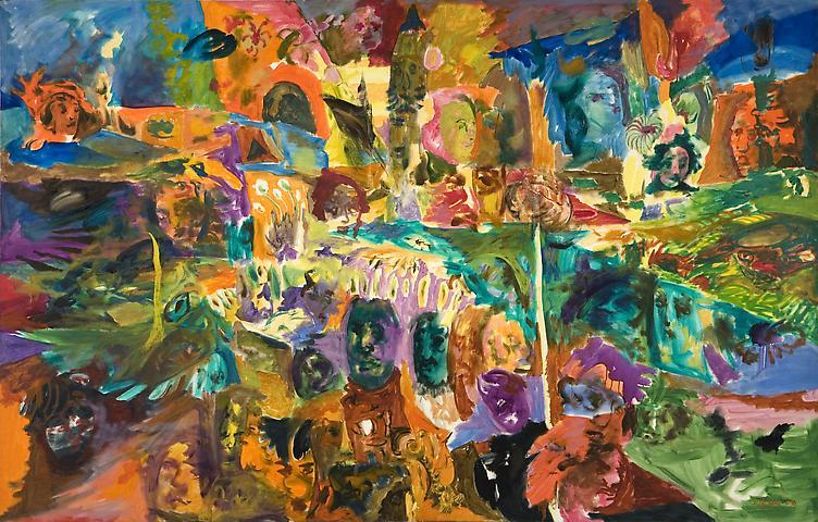 Conversation Piece (1968) Oil on canvas 63h x 98.75w in (160.02h x 250.83w cm)